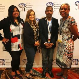 TRA board at NAMRC conference in Dallas: Board Members L to R are Rachita Sharma, Susan Rapant, Abdoulaye Diallo, and Nina Atkins