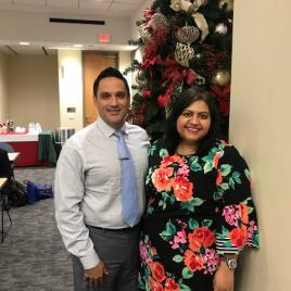 HARA President, Iric Saldivar,  greets guest speaker, TRA President-Elect, and UNT Profession Rachit Sharma, Ph.D. to Houston.